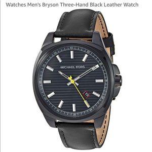 267ef6c623b7 Michael Kors Accessories - Men s Michael Kors Bryson Blk leather 3-hand  Watch